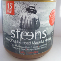 steens umf 15+ raw manuka honey label
