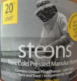 label of Steens raw unpasteurized UMF 20+ manuka honey