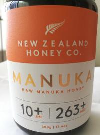 label of New Zealand Honey Co UMF 10+ Manuka honey